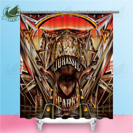 3d Shower Curtains Australia - Vixm American Jurassic Park 3D Glacier Dinosaur Shower Curtain Movie Poster Waterproof Polyester Fabric 8 Sizes Shower Curtain 12 Hooks