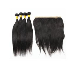 $enCountryForm.capitalKeyWord UK - Straight Hair Extensions with 360 Degrees Hair Closure Peruvian Indian 100% Virgin Human Hair Weaves 50g Bundle Natural Color 8-28 inches