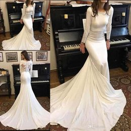 Discount china made mermaid wedding gowns - 2019 Vintage Long Sleeves Mermaid Wedding Gowns with Lace Applique Zipper Back China Sweep Train Mermaid Engagement Brid
