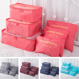 Wholesale 6-piece Set Travel Storage Bag Home Luggage Storage Clothes Organizer Bags Portable Cosmetic Bag Unisex Outdoor Shoes Underwear Pouch E11304