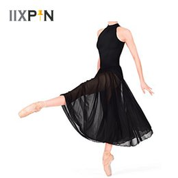 Wholesale ballet dance costumes for kids resale online - Ballerina dress kids Sleeveless Mock T Neck Leotard for girls ballet dress with Mesh Maxi Skirt Praise lyrical dance costumes