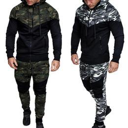 Wholesale 2pcs set sport tracksuit for sale – designer 2020 New Plus Size Men Running Set Camo Print Patchwork Sport Jacket Jogging Tracksuit Sportwear Hoodies Sweatshirt Pants