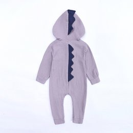 $enCountryForm.capitalKeyWord NZ - Cartoon Boy Girl One Piece Clothes Comfortable Cotton Dinosaur Hooded Outdoor Lovely Baby Jumpsuits Home Wear 12 5zy Ww