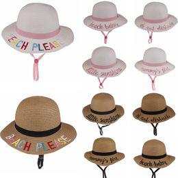 1bd00e5c8f0e7 10styles Kids Bucket Hat letter Embroidered Strawhat Sunhat summer beach Sun  Hat Word Fishing Caps Baby Fisherman Kids Basin hats FFA1922