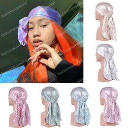 $enCountryForm.capitalKeyWord Australia - New Unisex Long Silk Scale Laser Breathable Bandana Turban Hat Wigs Doo Durag Biker Headwear Pirate Hat Men Hair Accessories