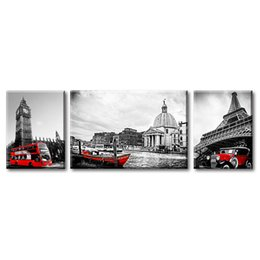 art three panels UK - 3 Pieces Canvas Wall Art Black White and Red Home Decor City Landscape Poster with Eiffel Tower Waterside Town Venice London Big Ben