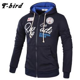 Wholesale Mens Zipper Hoodies Australia - T-Bird Brand 2017 Hoodies Brand Men Letter Printing Sweatshirt Male Hoody Hip Hop Autumn Winter Zipper Hoodie Mens Pullover XXXL