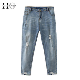 mom jeans UK - HEE GRAND 2018 Winter Vintage Jeans Women Plus Size 4XL Scratched Mom Pants Loose Ankle-length Ripped Denim Trousers WKN611