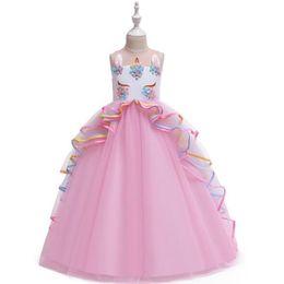 Purple Tulle Balls UK - 2019 New Girl Wedding Dress Ribbon Lace First communion Dress For Party Princess Tulle Long Flower Girl Vestidos