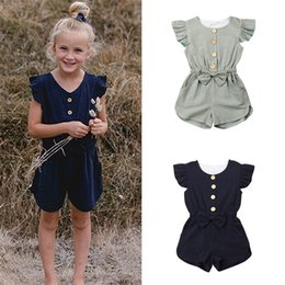 Rowing Clothes Australia - Summer girl kids clothes 2 colors Pure color Single row buckle romper bows flying sleeve jumpsuit Kids Designer Clothes Girls JY346