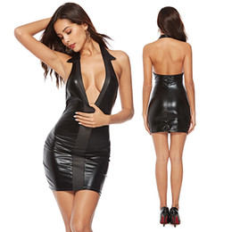 sexy night party bar 2019 - Black Sexy PVC Street Style Dresses Faux Leather Bodycon Party Mini Dress Backless Night Bar Club Wear cheap sexy night