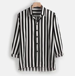 Wholesale vertical striped shirt mens resale online – Long Sleeve Casual Button Down Dress Men Vertical Striped Shirt Lapel Striped Slim Fit Mens Shirts