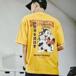 fc0a586e1d 2019 Hombres Camiseta Hip Hop Anime Gato enojado Camiseta Harajuku Camiseta  de dibujos animados japonesa Streetwear Verano Tops de algodón Camiseta de  manga ...