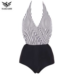 sexy plus size swim wear Australia - NAKIAEOI 2018 New Sexy One Piece Swimsuit Plus Size Women Swimwear Backless Halter Top Swimsuit Patchwork Bathing Suit Swim Wear