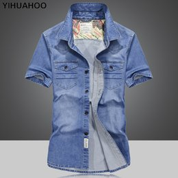 3367766cffe Cargo Shirts Australia - wholesale Casual Denim Shirt Men Vintage Summer  Short Sleeved Male Leisure Cargo