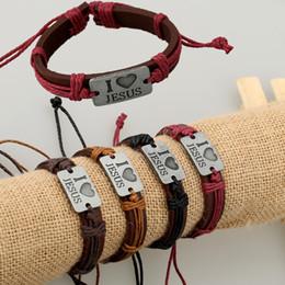 $enCountryForm.capitalKeyWord Australia - Merry Christmas I love jesus Handmade Unisex Women's Leather Bracelet braided Tribal Bangle Church Gifts Cros