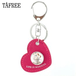 gold heart key pendant 2019 - Charm Cartoon Cute Cat Picture Heart Leather Keychain Glass Cabochon Metal Pendant Key Chain For Child Gift TB42 cheap g