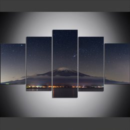 Mounting Canvas Prints Australia - 5 Piece Large Size Canvas Wall Art Pictures Creative Night Sky Stars Japan on Mount Fuji Art Print Oil Painting for Living Room