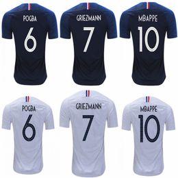 c3366ae6c 2 Stars 2018 World Cup Soccer Jersey France MBAPPE POGBA GRIEZMANN GIROUD  Home Uniform Top KANTE DEMBELE MATUIDI UMTITI Away Football Shirt