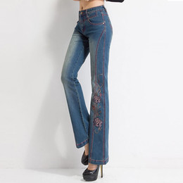 High Quality Embroidery Australia - Women Jeans with Embroidery High Waist Woman Embroidered Slim Flare Floral Pattern Vintage Quality Bell Bottoms Push Up Sexy 36 19SS
