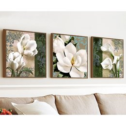 pictures tulip paintings Australia - Diamond Embroidery Mosaic Painting Cross Stitch Full Round Drill Triptych White Flowers Magnolia Tulip DIY 5D Decoration Gift