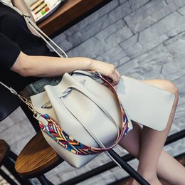 Burgundy Drawstring Bags Australia - good quality Fashion Ladies Bucket Bag With Ribbons Solid Color Pu Leather Shoulder Bag Designer Drawstring Messenger Package
