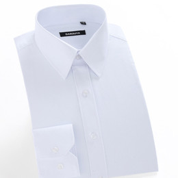 dress black top white work UK - Men's Regular-fit Coarse-twill Solid Basic Dress Shirt Formal Business Long Sleeve White Tops Shirts For Social Work Office Wear