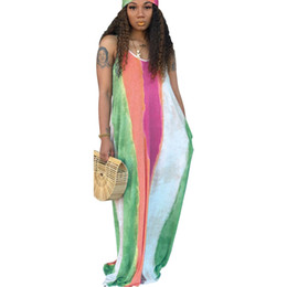China Womens Sexy Loose Strap Maxi Dresses For Female Contrast Color Fashion Summer V-neck Sleeveless Long Sling Dress cheap casual line dress sleeves suppliers