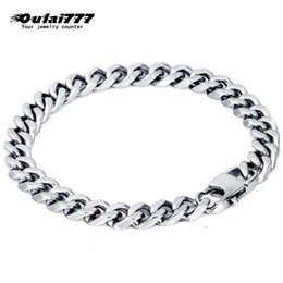 $enCountryForm.capitalKeyWord NZ - oulai777 stainless steel men bracelet mens chain cuban link accessories gold black silver rock charm bracelets chain on hand