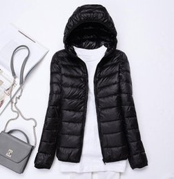 jacket shops Canada - Free Shipping Drop Shopping Women's Down Jackets Short Ultra Light Duck Down Coat Hooded Puffer Jacket Autumn Winter Parkas Black Clothes