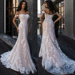 Fall sweetheart beach wedding dresses online shopping - 2019 Berta Off the Shoulder Mermaid Wedding Dresses Long Appliques Lace Up Back Castle vestido de novia Beach Bridal Gowns