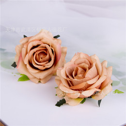 Wholesale Euro Fall Dark Color Theme Mini Cute Rose Flower Head Wedding Flower Wall Deco Wrist Flower Accessories Camera Props Clothes Hat DIy Deco
