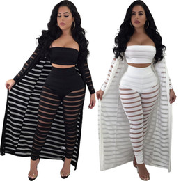 39cf8dcb4e9 Women Perspective Striped Three-Piece Sets Lace Strapless Crop Tops + Pants  + Long Sleeve Cloak Hollow Out Outfits Plus Size S-3XL C3274