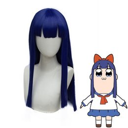 Chinese  POP TEAM EPIC Popuko Two Ponytail Hair Pipimi Blue Bangs Straight Cosplay Wig manufacturers