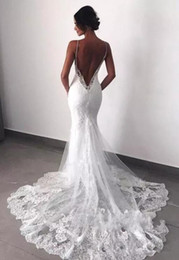 crystals layers wedding dresses NZ - Sexy New Backless Lace Beads Wedding Dresses 2019 Spaghetti Straps Mermaid Layers Appliqued Boho Bridal Gowns