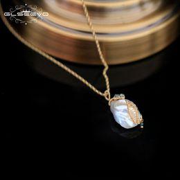 $enCountryForm.capitalKeyWord Australia - Glseevo Handmade Natural Fresh Water Baroque Pearl Pendant & Necklace For Women Wedding Jewelry Custom Necklace Kolye Gn0078 J190718