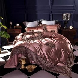 romantic queen size bedding NZ - Luxury 100S Silk Cotton Romantic Hollow Lace Embroidery Bedding Set Duvet cover Bed sheet Bed Linen Pillowcases Queen King size