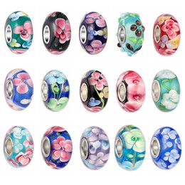 $enCountryForm.capitalKeyWord NZ - Mix Bulk DIY Glass crystal beads Double layer flower Big Hole Loose Spacer craft European Silver beaded For charm bracelet Jewelry Making
