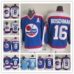 9a90be9c989 Lower Price Men s Winnipeg Jets 8 Teemu Selanne Hockey Jersey Blue White  CCM Throwback 9 Bobby Hull NHL Jersey 16 Laurie Boschman