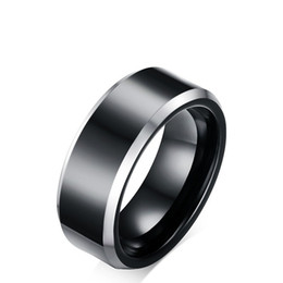 Black Tungsten Engagement Rings UK - High Quality Black Color Fashion Simple Men's Rings Tungsten Carbide Ring Jewelry Gift for Boys Men J032