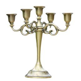 Metal candle holders centerpieces online shopping - Gold Bronze Black Arms Metal Pillar Candle Holders Candlestick Wedding Centerpieces Decoration Stand Mariage Home Decor Candelabra