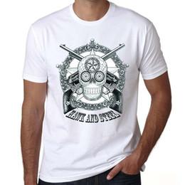 Sugar gun online shopping - Hawk t shirt Sugar skull short sleeve tops Steel gun rock fadeless tees Unisex white colorfast clothing Pure color modal tshirt