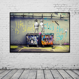 """$enCountryForm.capitalKeyWord Australia - Banksy Graffiti Art Abstract Canvas Painting Posters and Prints """"Life Is Short Chill The Duck Out"""" Wall Canvas Art Home Decor"""