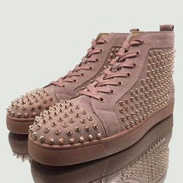 $enCountryForm.capitalKeyWord UK - Free Shipping Designer Brand Studded Spikes Flats shoes Red Bottoms shoes luxury Mens Womens Party Lovers Rare Pink Suede Sneakers