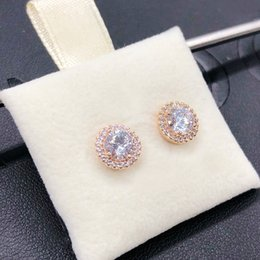 original gold earrings 2020 - Wholesale- Luxury CZ Diamond Rose Gold Earring LOGO Original box for Pandora 925 Sterling Silver Stud Earring Wedding Gi