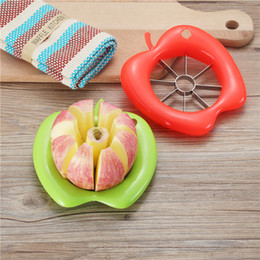 Free Green Gadgets Australia - Apple Shape Corer Slicer Easy Cutter Cut Fruit Knife Cutter for Apple Pear Kitchen Gadgets Red Green DHL Free Shipping