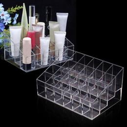 Acrylic Displays Cases Australia - 24 Grid Acrylic Makeup Organizer Storage Box Cosmetic Box Lipstick Jewelry Box Case Holder Display Stand Make Up