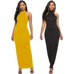 $enCountryForm.capitalKeyWord UK - classic hanging neck women's European and American sexy women's solid color backless sleeveless stretch Slim dress