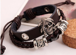 small bezel Canada - New fashionable Beaded Leather Bracelet small jewelry braided cowhide Bracelet