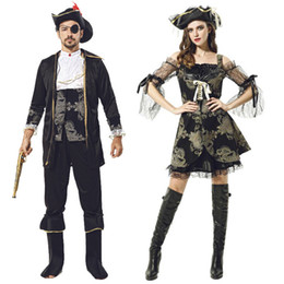Wholesale pirates halloween costumes for sale – halloween Party Cosplay Stage Costume Halloween Theme Cos Costume Adult Male female Noble Pirate Captain Cosplay Clothing Set